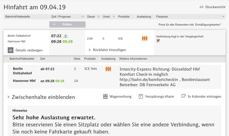Screenshot bahn.de
